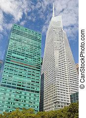 ciudad, moderno, rascacielos, nueva york