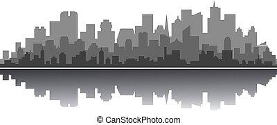 ciudad, moderno, silueta