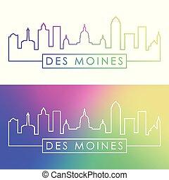 ciudad, moines, lineal, colorido, des, skyline., style.