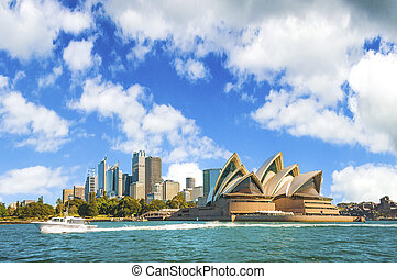 ciudad, muelle, contorno, australia., sydney, circular