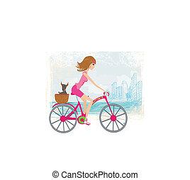 ciudad, mujer, bicicleta que cabalga