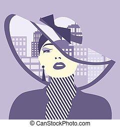 ciudad, mujer, illustration., ella, doble, vector, sombrero...