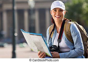 ciudad, mujer, joven, viajar