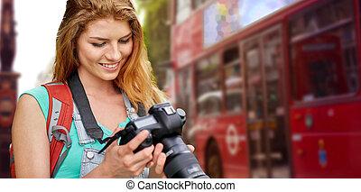 ciudad, mujer, mochila, cámara, londres, encima