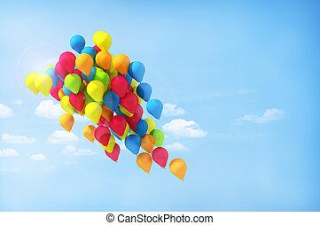 ciudad, multicolor, globos, festival.