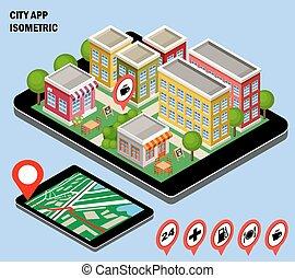 ciudad, navegación, app.