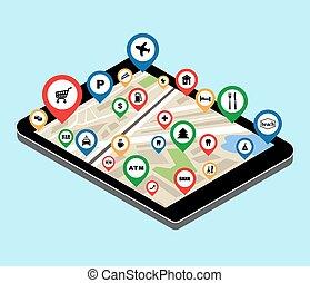 ciudad, navegación, app