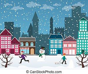 ciudad, navidad