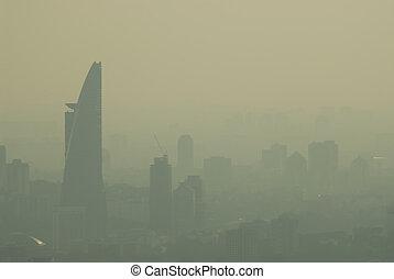ciudad, neblina