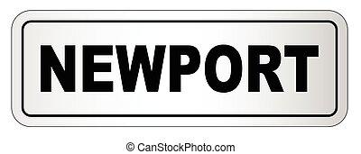 ciudad, newport, letrero nombre