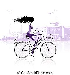 ciudad, niña, ciclismo