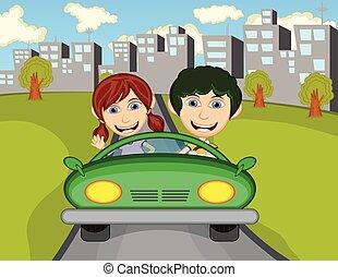 ciudad, niño, feliz, coche