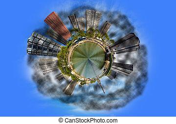 ciudad, niebla tóxica, contaminación
