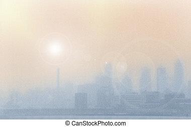 ciudad, niebla tóxica