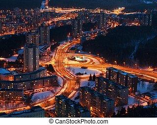 ciudad, noche, aéreo, vilnius, vista