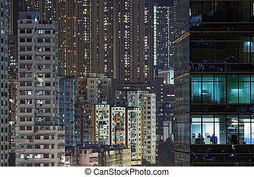 ciudad, noche de moda, hong kong