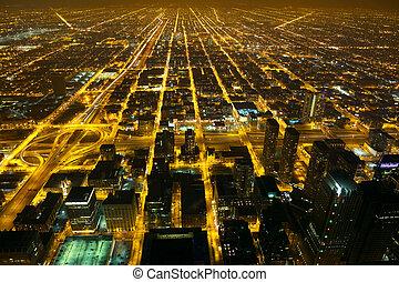 ciudad, noche, luces