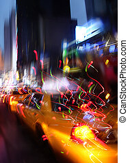 ciudad, noche, luces, york, nuevo, iluminación