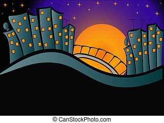 ciudad, noche, plano de fondo, luces
