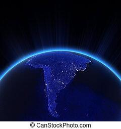 ciudad, noche, sudamérica, luces