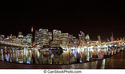 ciudad, noche, sydney, vista