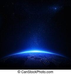 ciudad, noche, tierra, luces