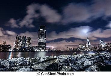 ciudad, noche, york, nuevo, panorama