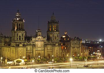 ciudad, noche, zocalo, méxico