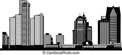 ciudad, norteamericano, contorno, detroit