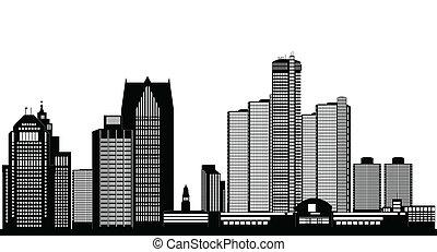 ciudad, norteamericano, negro, contorno, detroit