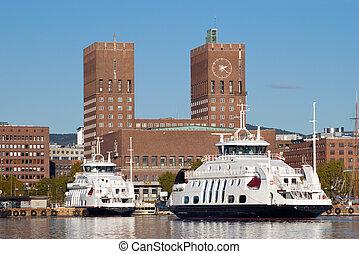 ciudad, noruega, vestíbulo, oslo