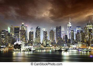 ciudad, nubes, york, noche, nuevo