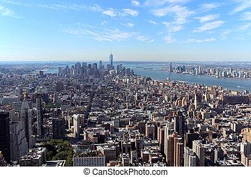 ciudad nueva york, aéreo, vista panorámica
