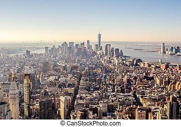 ciudad nueva york, horizonte de manhattan, aéreo
