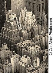 ciudad nueva york, horizonte de manhattan, vista aérea, negro y blanco