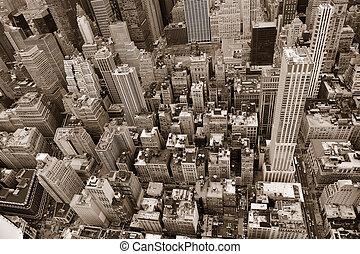 ciudad nueva york, manhattan, calle, vista aérea, negro y...