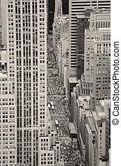 ciudad nueva york, manhattan, calle, vista aérea, negro y blanco