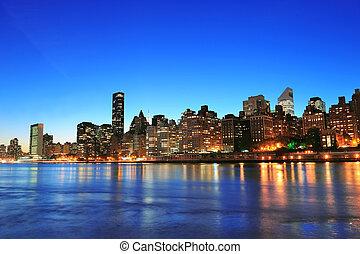 ciudad nueva york, manhattan, centro de la ciudad, contorno