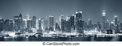 ciudad nueva york, manhattan, negro y blanco