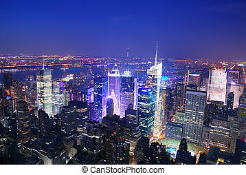 ciudad nueva york, manhattan, tiempos cuadran, contorno, vista aérea