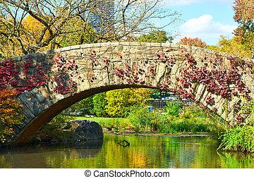 ciudad nueva york, parque central, en, otoño
