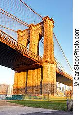 ciudad nueva york, -, puente de brooklyn, estados unidos de américa