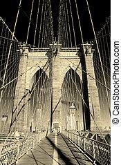 ciudad nueva york, puente de brooklyn, primer plano