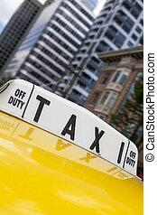 ciudad nueva york, taxi amarillo del taxi