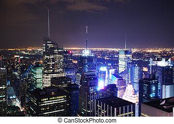 ciudad nueva york, tiempos cuadran, noche, vista, panorama