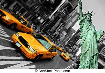 ciudad nueva york, tiempos cuadran, taxi, foco, mancha de movimiento