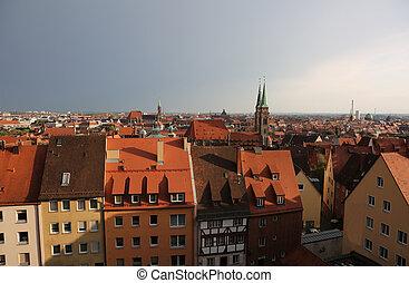 ciudad, nuremberg, muchos, casas, alemania, panorama