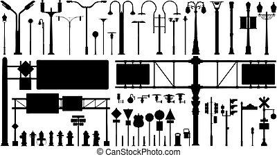 ciudad, objetos, vector, conjunto