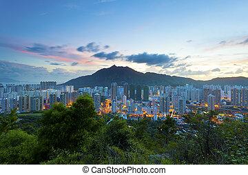ciudad, ocaso, en, hong kong