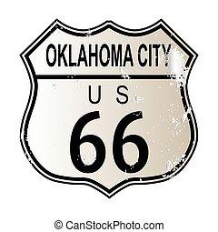 ciudad, oklahoma, ruta 66, señal